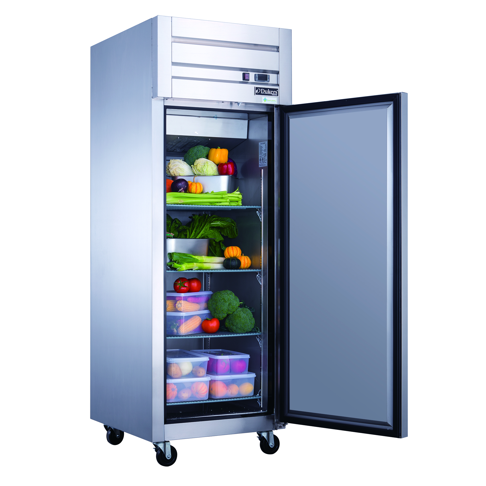 Dukers D83AR 3-Door Commercial Refrigerator Top Mount in Stainless Steel